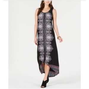 New Style & Co black printed caged back midi dress